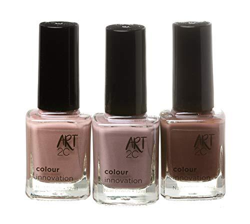 Art 2C, Colour Innovation - Set da 3 smalti per unghie classici, 3 x 12 ml - 3 colori scuri