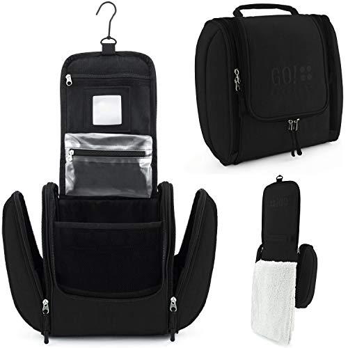 GO!elements® borsa da toilette per appendere uomini e donne | borsa cosmetica grande uomo donna per valigie e bagagli a mano | borsa da viaggio wash bag, Color:Nero