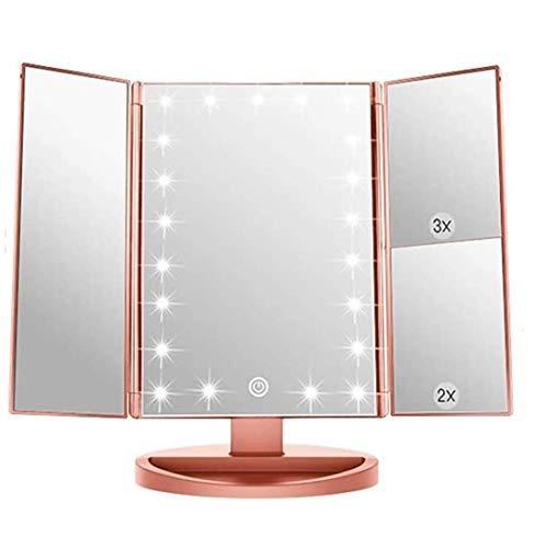 Infitrans Specchio con Luce,Specchi da Tavolo con Touch Screen Tri-Fold, ingrandimento 1x / 2X / 3X e Caricatore USB o Wireless, Luce LED Regolabile a 180 ° per Il banco da Viaggio (Rosa Oro)