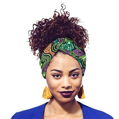 Mengyu Africana Turbante da Donna Involucro Tradizionale Bandana Cappellino con Fiocco Annodato Stampa (Style#1, 12 * 200cm)