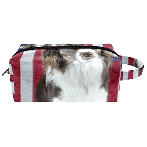 Borsa per il trucco, piccola borsa da viaggio portatile per cosmetici toilette portatile con cerniera di grande capacità ragazza Un abito da pastore australiano del giocattolo