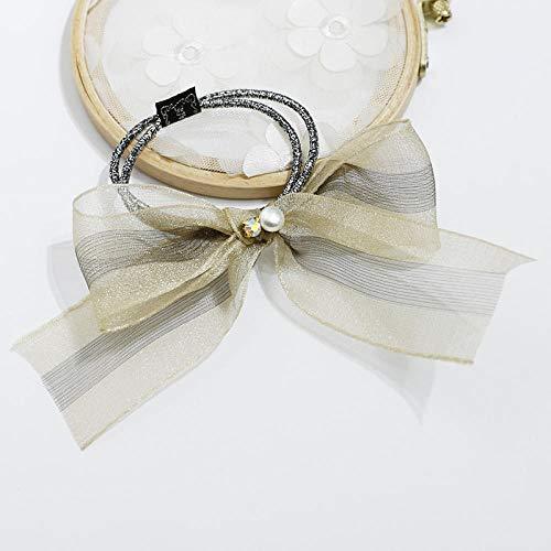 Accessori per capelli Fascetta per capelli elastico in maglia di filato ad anello per capelli corda per capelli fiocco fiocco streamer corda per capelli strisce giallo-estate