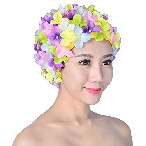 Cuffia da nuoto da donna, retro traspirante, con fiori, cappello da bagno Multicolore Taglia unica