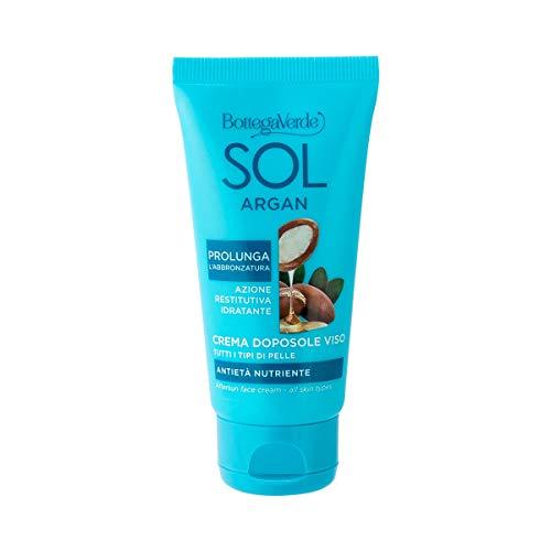 Bottega Verde, SOL Argan - Crema doposole viso - antieta nutriente - con olio di Argan e Collagene vegetale (50 ml) - prolunga l'abbronzatura - tutti i tipi di pelle