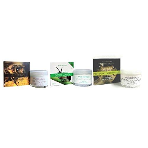 Kit 3 creme antirughe FACE COMPLEX : 1 crema al veleno d'ape + 1 crema alla bava di lumaca+ 1 crema al siero di vipera