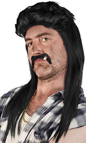 Set di: Parrucca Vokuhila + Barba + Catena d'oro - Rocker Parrucca Vokuhila | Proll | Pimp | Anni '80/ '90 (Nero + Barba + Catena d'Oro)