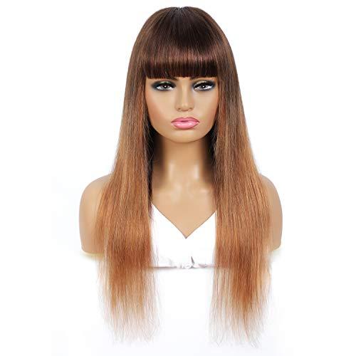 Parrucche di capelli umani senza pizzo con frangia Parrucca di capelli vergini brasiliani di colore Ombre fatta a macchina Densità del 130% senza colla (16 pollici, T4 / 30)