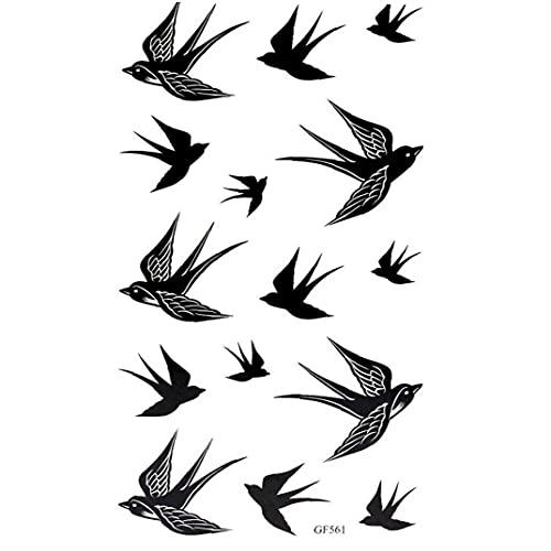 Ruluti 2 Scheda Popolare Rondine Uccello Flash Rimovibile Impermeabile Tatuaggio Provvisorio DIY Body Art Sticker Nero