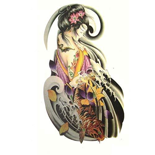 Justfox - Tatuaggio temporaneo Geisha Koi con pesce e loto
