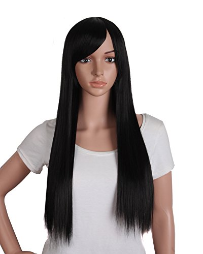 MapofBeauty - Parrucca sintetica da donna, capelli belli, lunghi e lisci