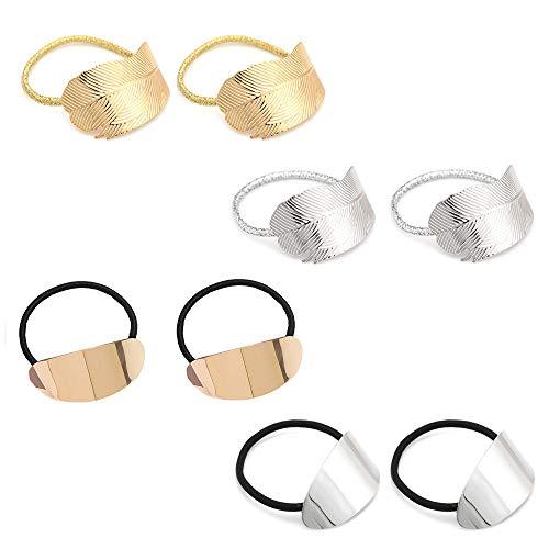 Jurxy 8PCS Fascia per Capelli in Metallo a Foglia di Capelli Anello per Capelli con Coda di Cavallo Elastico di Cristallo Elastico Accessori per Capelli Accessori per Capelli -2 Stili Oro e Argento