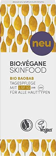 Bio: Végane Skinfood, Bio Baobab crema giorno con SPF10 per tutti i tipi di pelle, vegan, certificato NATRUE, cosmetico naturale con filtri di protezione solare minerali, 50 ml