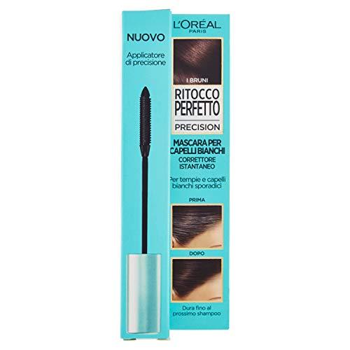 L'Oréal Paris Mascara Istantaneo Ritocco Perfetto Precision, Ideale per Capelli Bianchi Radi e Tempie, Non Macchia, 2 Bruno