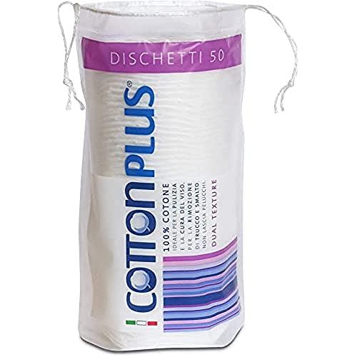 Cotton Plus DISCHETTI 50 pz. - LINEA BEAUTY | DISCHETTI 100% PURO COTONE | Dischetti struccanti per la pulizia del viso soffici e resistenti.