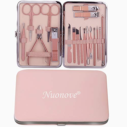 Manicure Professionale, Set Manicure, Pedicure Manicure Set, Tagliaunghie Set, Kit Cura Unghie Donna Manicure e Pedicure Attrezzi Kit Professionale, 18 Pezzi con Box