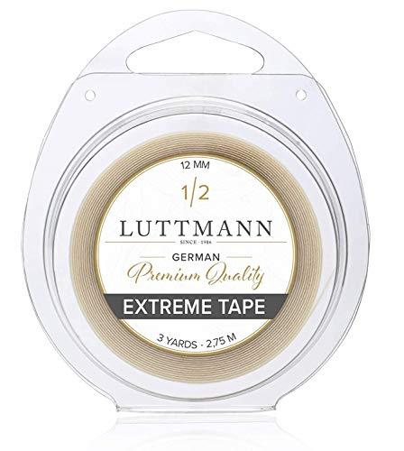 LUTTMANN® Extreme Tape - 12 mm Premium Quality Extreme Hold nastro adesivo Lace front trasparente per sistemi di capelli, parti di capelli, parrucche, Toupets & Extensions