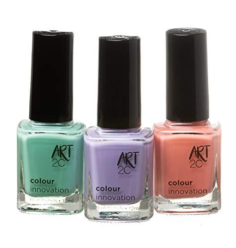 Art 2C, Colour Innovation - Set da 3 smalti per unghie classici, 3 x 12 ml - 3 colori pastello