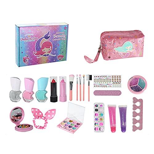Zoylink Girls Makeup Playset Lavabile Portatile Riutilizzabile Assortito Play Makeup Kit Con Sacchetto Starter Set Accessori Viso Bellezza