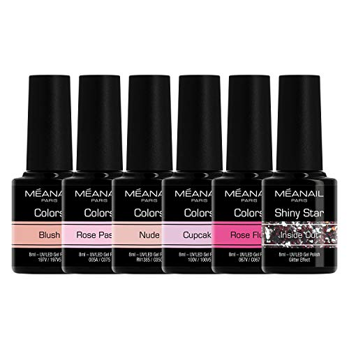 Cofanetto Sweet Pink Smalto • Semipermanente Unghie 6 Colori Gel UV LED • Kit per Manicure Semipermanente con 6 Smalti Nail Polish Soak Off Gel • Norme CE Europee • Meanail Paris
