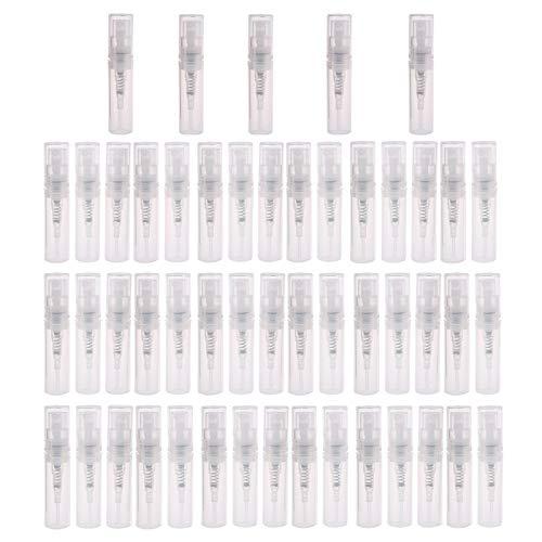 Langing, Flaconi spray in plastica da 2 ml, trasparenti, con nebulizzatore, per profumi e cosmetici