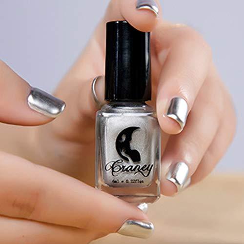 6 ml metallizzato cromato effetto specchio sexy nail art smalto manicure strumento per uso professionale – colore acciaio