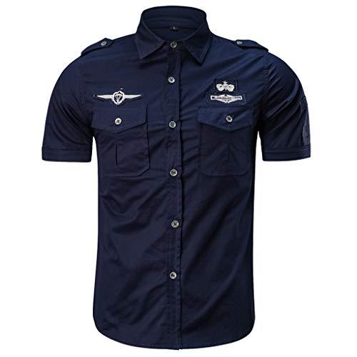 Camicia da Uomo Maniche Corte Slim Fit Estiva Stile Polo Magliette Larghe Manica Corta Modo Casuale (XL,10- Blu Scuro)
