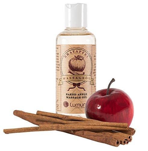 Olio per Massaggi Erotici al profumo invernale e afrodisiaco di mela e cannella (100ml) per massaggi corpo, sesso, massaggi di coppia e intimi (100ml)