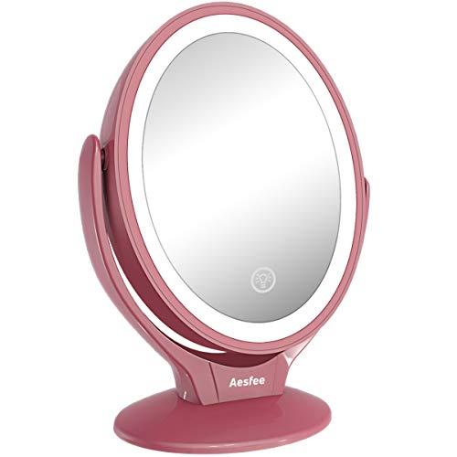 Aesfee Specchio da Trucco con Luci LED, Ingrandimento 1x/7x Specchio Cosmetico a Doppia Faccia Ruotabile di 360°, Interruttore Tocca, Specchio Illuminato Portatile per Viaggio,Bagno