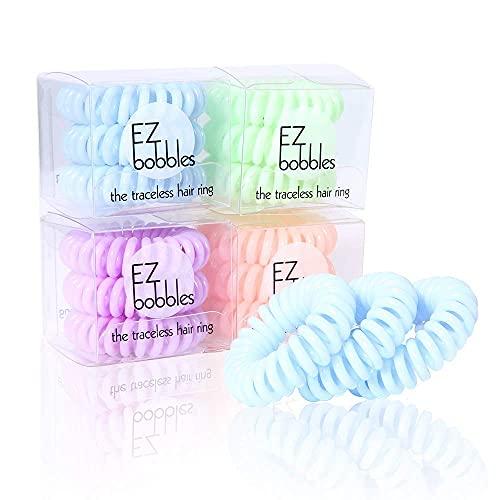 EZbobble 12pcs Elastici per Capelli, elastici per capelli a spirale per donne e ragazze elastici per capelli in plastica serie multicolore a spirale(colore1)