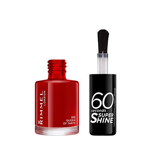 Rimmel London Smalto Unghie 60 Seconds Super Shine - Asciugatura Rapida e Lunga Durata - 315 Queen Of Tarts! (Rosso Classico) - 8 ml
