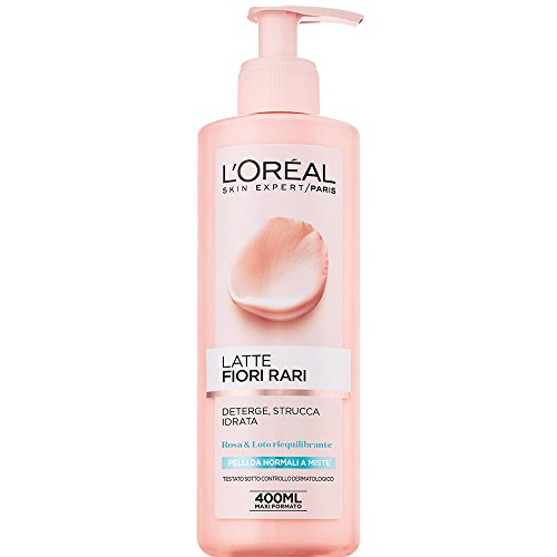 L'Oréal Paris Detergenza Fiori Rari Latte Struccante per Pelli Normali mlste, Strucca e Idrata la Pelle, 400 ml