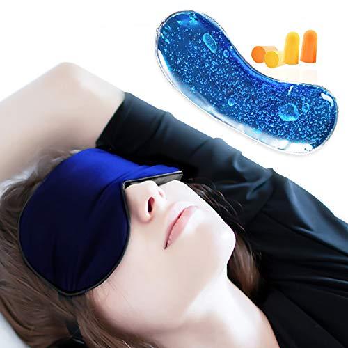 Maschera per Dormire con Refrigerante Occhi, Mascherina Notte 100% Seta Naturale Terapia del Caldo Freddo JAANY (Blu scuro)