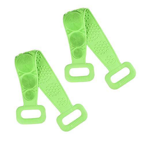 Schienale per doccia in silicone, spazzola esfoliante per il corpo in silicone, facile da pulire, con schiuma, ecologica, di lunga durata, confortevole massaggio per la doccia (verde, confezione da 2)