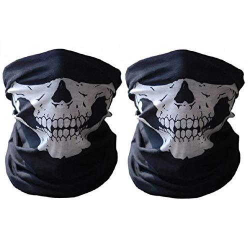 Maschera a mezzo viso per motociclismo, sci, ciclismo e attività all'aperto, motivo: teschio, protezione fino al collo, 2 pezzi, ideale anche per Halloween