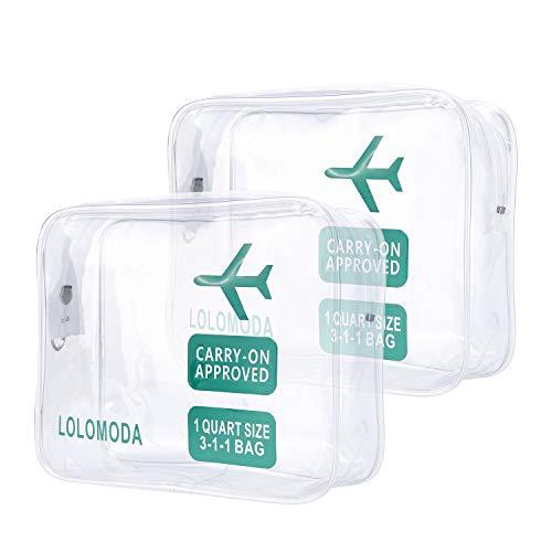 Beauty Case da Viaggio 2Pcs, Cosmetici Trousse Trasparente, Kit da Aereo per Liquidi, Sacchetti di Trucco PVC per Uomini e Donne (Blu)