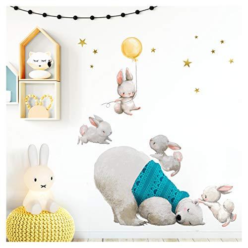 Little Deco DL235 - Adesivo da parete per cameretta dei bambini, motivo: orso polare e coniglietto con palloncino, 121 x 103 cm (L x A), motivo: stelle
