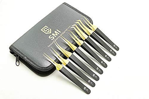 SMI - 8 pezzi kit pinzette per extension ciglia professionali ciglia finte artificiali 3D-6D pinzette per ciglia per donne pinzette di precisione curvo e diritto con custodia