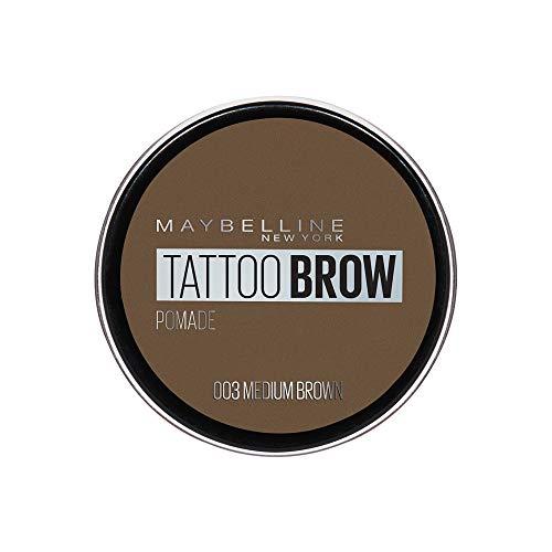 Maybelline New York Tattoo Brow Pomade Pot Cera per Sopracciglia Pigmentata Effetto Matte, Tenuta fino a 24h, Resistente all'Acqua, 03 Medium Brown