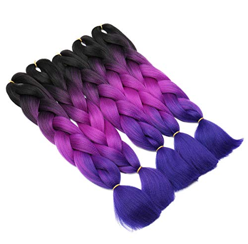 5 pacchi Ombre Braiding Hair estensione dei capelli Jumbo intrecciare l'estensione dei capelli per Crochet Capelli sintetici intrecciati Da nero a viola Da rosso a blu scuro