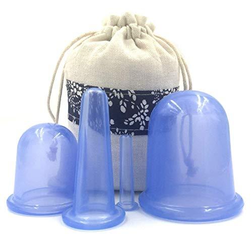 Duomi Cupping Therapy Set for Face - Doppio Chin Reducer - Face Cupping Set - Ideale per coprirsi le guance, il mento e le labbra - Set coppettazione viso - Kit anticalcare in silicone per coppe - Blu