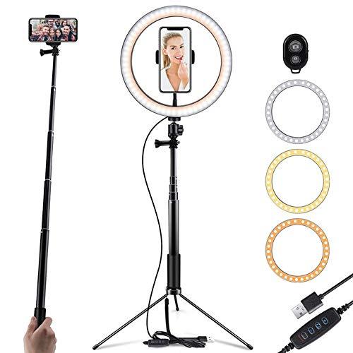 Selfie Ring Light LED da 10 poltrone con supporto per specchio e supporto flessibile per telefono Bluetooth remoto per YouTube Video Streaming Desk Makeup