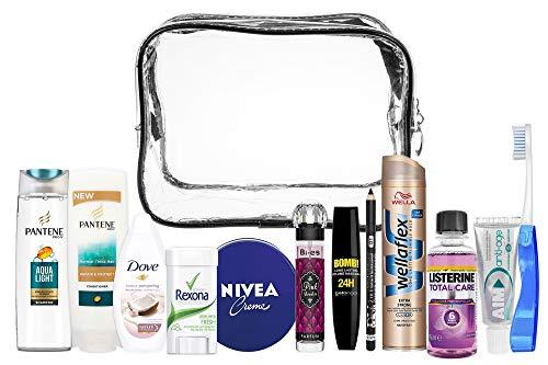 Kit da viaggio comodo da donna 13 pezzi, bundle set da viaggio adatto per bagaglio a mano, viaggi di vacanza e di lavoro, comprendente tutti i prodotti di marca necessari per la cura personale