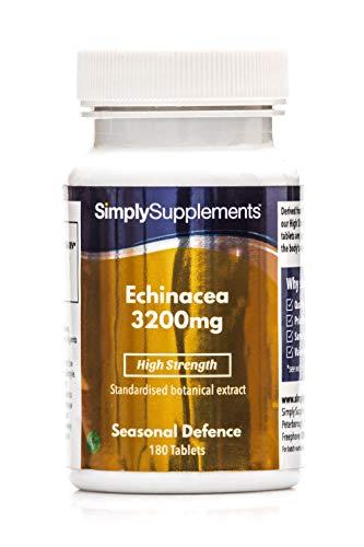 Echinacea 3200 mg - 360 compresse - Adatto ai vegani - 1 anno di trattamento - SimplySupplements