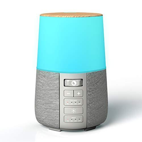 Diffusore di Oli Essenziali con Rumore Bianco e Luce Notturna a LED, Vaporizzatore Profumatore per Ambiente, Nebulizzatore Olio, Aromaterapia con Suoni Naturali Calmanti, Umidificatore Ambiente