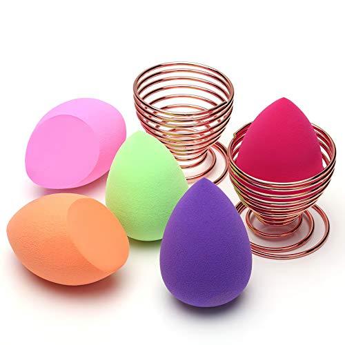Spugnette Make Up, O'Vinna 5 pcs Spugnette Trucco + 2 pcs Supporto di Spugna for Women Blush Correttore, Ombretto, Cipria, Crema Cosmetica
