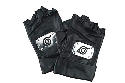 Guanti di Naruto Kakashi Hatake Konoha Costume Cosplay, Guanti di Pelle Nera Konoha Guanti di Pelle Nera