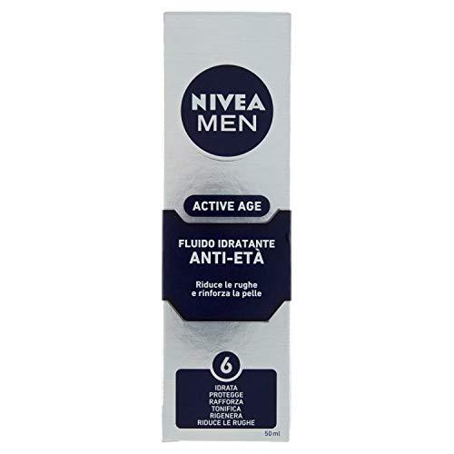 NIVEA MEN Active Age Fluido Idratante Anti-Età in confezione da 1 x 50 ml, Siero antirughe arricchito con Creatina e Caffeina, Crema viso idratante che riduce le rughe