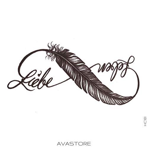 AVASTORE - Tatuaggio temporaneo da donna, con piuma e infinito, motivo: infinito