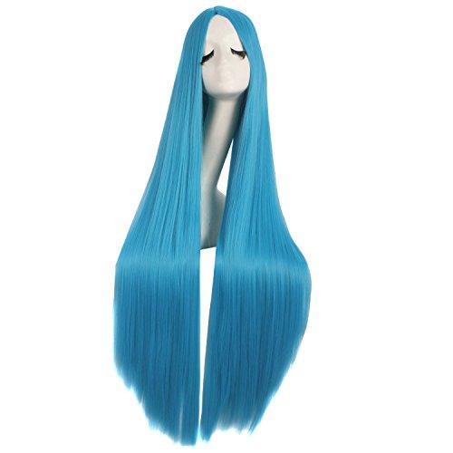 MapofBeauty 40 Pollic/100cm Naturale Morbido Dritto Lungo Cosplay Parrucca (Ciano Blu)