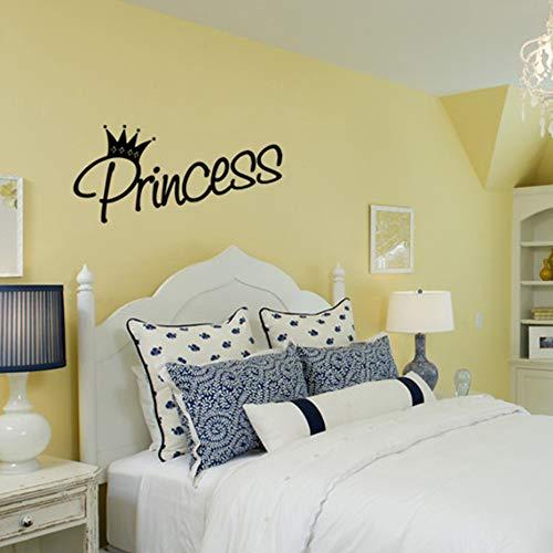Adesivo murale, arte murale, tatuaggio muraleAdesivo murale principessa con motivo a corona per ragazza carina Camera da letto decorazione murale in vinile 96X44 cm